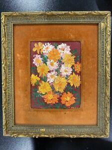 Original Oil Painting Artist Signed FRAN 1960-70 Marigolds Flowers Framed Mini
