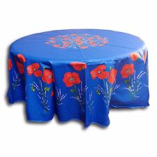 French Provencal Tablecloth Acrylic Coated Cotton Poppy Blue 71 Inch Round