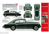 Bentley CONTINENTAL R SPEC SHEET / Brochure- 1952,1953,1954,