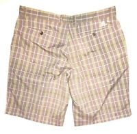 adidas Men's Stretch Plaid Flat Front Golf Shorts Size 36