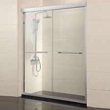 "60"" Framed 2 Sliding Bath Shower Door 1/4"" Clear Glass Brushed Nickel Finish"