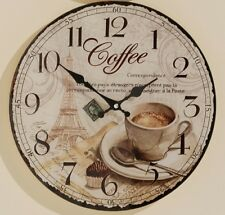 Wanduhr Glas Uhr Glasuhr Coffee Vintage Retro Landhausstil Kaffeehaus 34 cm