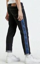 LEVIS HI-Ball Roll Mens Logo Stripe Jeans Sz 42 Blue Tapered Leg Zip Fly BIG E