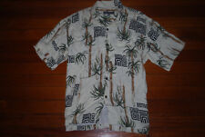RARE Men's Silver Edition Quiksilver Hawaiian Palms Button Shirt (X-Large)