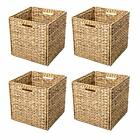 Trademark Innovations Foldable Hyacinth Storage Baskets with Iron Wire Frame (Se