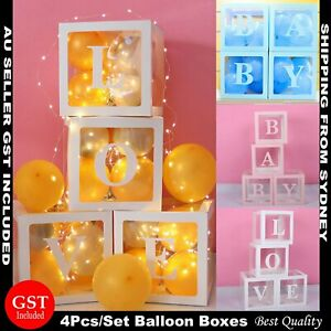 4Pcs/Set LOVE BABY Balloons Box Cube Clear Gift Boxes Birthday Baby Shower Party