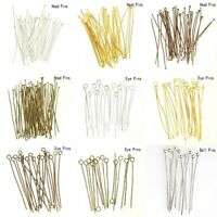 100x Silver/Gold Plated Ball Head Eye Pins Jewelry Finding 20/30/40/50/60/70mm y