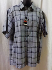 Haggar Men Shirt Size M NWT White Plaid Short Sleeve Polyester Button Front $48