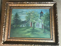 "Antique Edith S Lesley ""Church Landscape Scene"" Oil Painting - Signed And Framed"