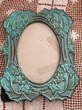 Art Nouveau Floral Faux Greenish Blue Patina Metal Picture Frame