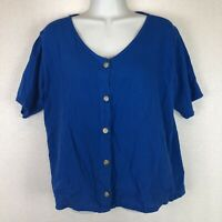 Eucalyptus Women's Blue Short Sleeve 100% Cotton Button Up Scoop Neck Blouse S
