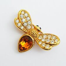 SIGNED SWAROVSKI CRYSTAL BEE PIN BROOCH IN EXCELLENT CONDITION