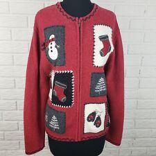Croft & Barrow Womens L Snowman Patchwork Christmas Sweater Zip Up Winter Red