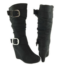 Womens Faux Suede Knee High Wedge Boots w/ Buckle Accent Black Size 5.5-10