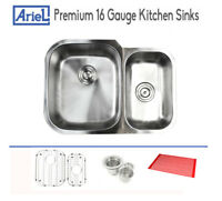 "Ariel Premium 29"" 16 Gauge Stainless Steel Undermount Kitchen Sink Double Bowl"
