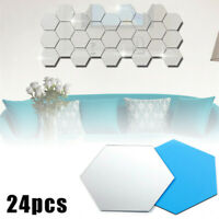 12/24Pcs Mosaic Mirror Tile Wall Stickers DIY Art Decal Decor Self Adhesive Home