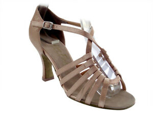 Women's 1661 Brown Satin Swing Salsa Mambo Latin Dance Shoes heel 3 Size 6