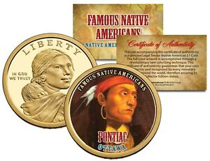 PONTIAC Famous Native American Series 2013 Sacagawea Dollar Coin OTTAWA Indian