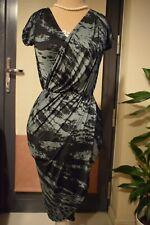 River Island L'ART Black  &Green Printed Wrap Dress Size UK 6