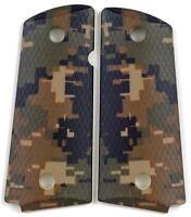Custom Compact Officer 1911 Grips Ambidextrous Digital Woodland Camo Colt Sig