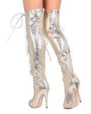 New Women Liliana Opus-1A Metallic PU Thigh High Peep Toe Lace Up Stiletto Boot