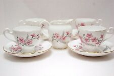 Lot of 4 Roslyn Bone China WISPY Tea Cup and Saucer sets plus Creamer. Lovely.