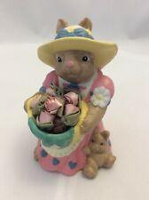 Ceramic Bisque Mama Bunny Rabbit w/Baby Basket Fabric Roses