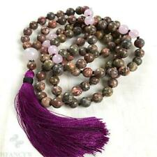 8mm Flower Jasper Crystal Gemstone Mala necklace 108 Bead Lucky Bless natural