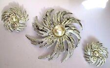 parure bijou vintage couleur argent soleil gravé broche B.O perle nacré 420