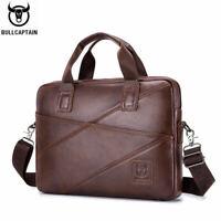BULLCAPTAIN Men Leather Briefcase Shoulder Bag Casual Business Messenger Bags