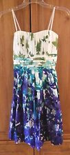 Beautiful White Teal Purple Floral Strapless Party Dress EUC Size Small