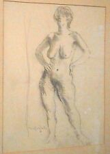 Nude Young Woman Pencil Drawing-1950s-Moses Soyer