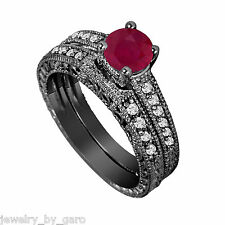 Ruby Engagement Ring Sets With Diamonds Bridal Set,14k Black Gold 0.87 Carat