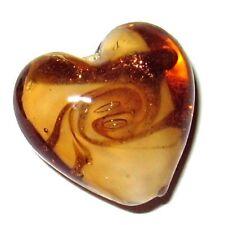 4 Pcs Lampwork Heart Glass Beads - 20mm - Golden Brown - A4022