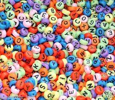 500pcs plano redondo surtido color sólido alfabeto/letra cuentas de acrílico 7mm