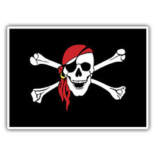 pirate sticker 100 x 75mm black beard  skull crossbones vw dub rat