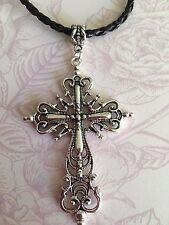 Tibetan Silver Large filigree Cross Crucifix Charm faux leather choker necklace
