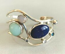 HUGE SAJEN Sterling Silver Lapis Chalcedony Topaz Multi Stone Cuff Bracelet 38GR