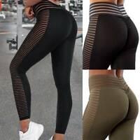 Women High Waist Yoga Pants Mesh PUSH U Leggings Gym Fitness Elastic Trousers