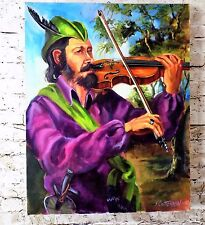 Oil Painting Portrait Man Playing Violin Wall Art Decor Handpainted on Canvas