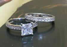 2.55 Ct Princess Diamond Engagement Wedding Bridal Ring Set 925 Sterling Silver