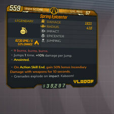 Spring Epicenter L57 Anointed +50% Incendiary Damage on ASE Grenade Mod BL3 PC