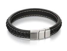 Fred Bennett Brushed Clasp Black Leather Bracelet B4984