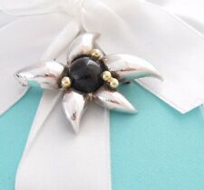 RARE TIFFANY & CO SILVER 18K GOLD ONYX FLOWER BROOCH PIN POUCH INCLUDED