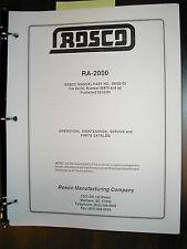 Rosco RA-2000 SERVICE OPERATION MAINTENANCE PARTS MANUAL ASPHALT SPRAY PATCHER