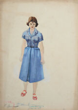Vintage WC Painting Costume design young woman signed