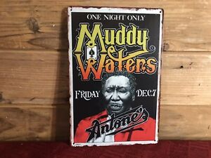 """Muddy Waters """"One Night Only"""" Antone's Reproduction Metal Sign Tacker 8""""x12"""""""