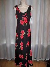 BETSY & ADAM PETITE BLACK FLORAL PRINT LINED VERY CHIC MAXI DRESS 4P NWT $125
