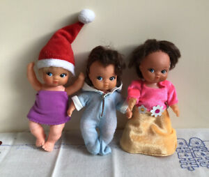 3 Vintage Baby Dolls Rubber Face Plastic Body Made In Taiwan 1960s Collectable