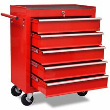 690 mm Roller Cabinet Mechanics Tool Chest Box Trolley w/ 5 Drawers Red Workshop